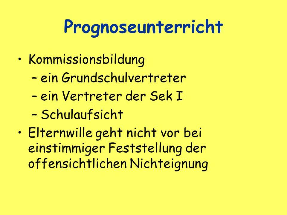 Prognoseunterricht Kommissionsbildung ein Grundschulvertreter