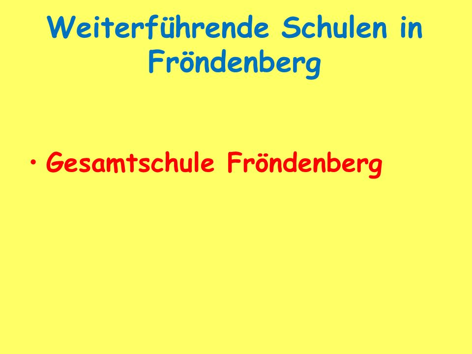 Weiterführende Schulen in Fröndenberg