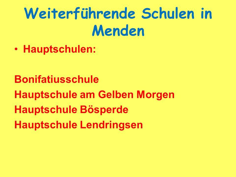 Weiterführende Schulen in Menden