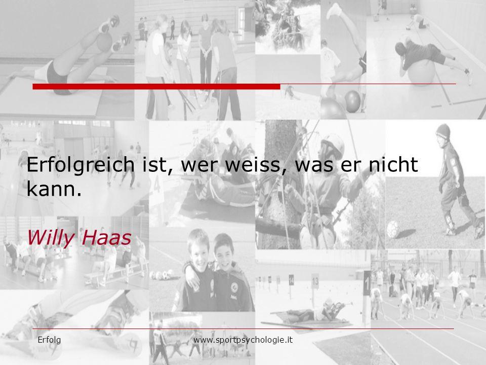 Erfolgreich ist, wer weiss, was er nicht kann. Willy Haas