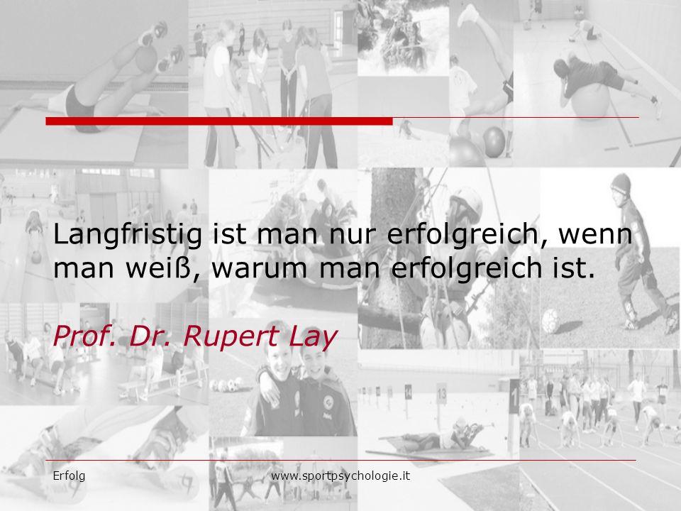 Langfristig ist man nur erfolgreich, wenn man weiß, warum man erfolgreich ist. Prof. Dr. Rupert Lay
