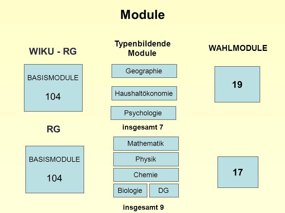 Module WIKU - RG 19 RG 104 17 Typenbildende Module WAHLMODULE
