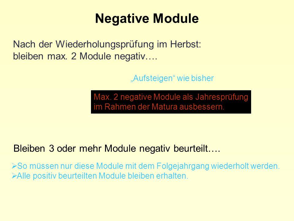 Negative Module Nach der Wiederholungsprüfung im Herbst: