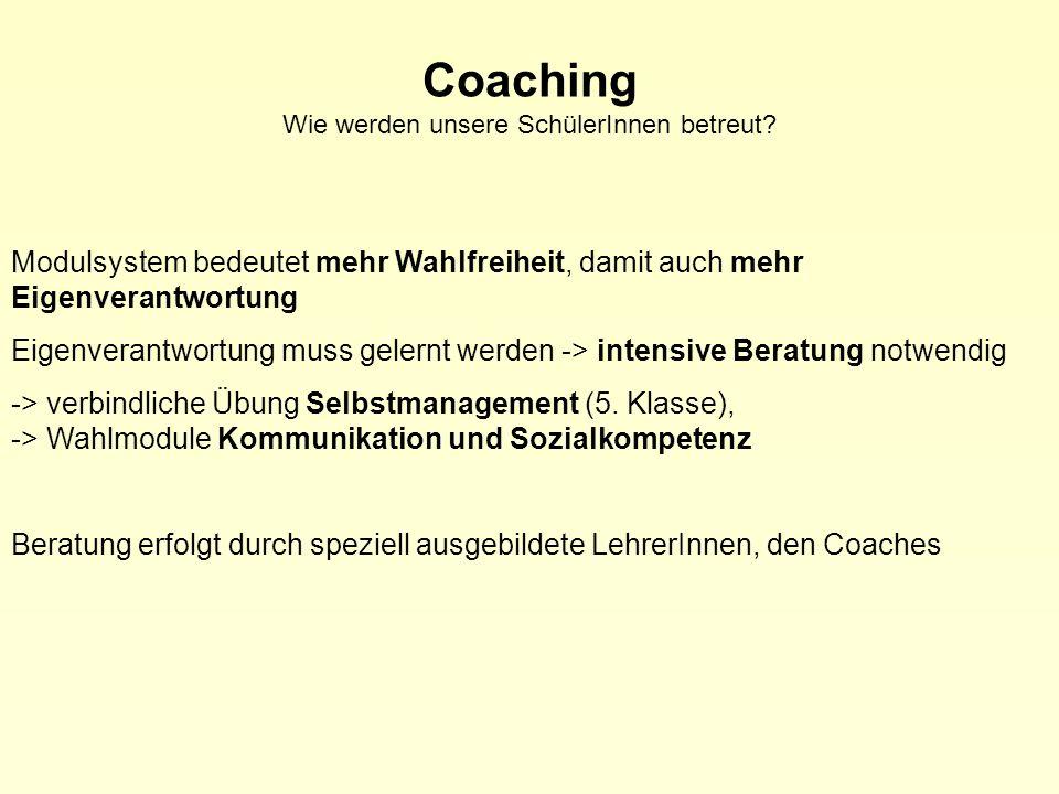 Coaching Wie werden unsere SchülerInnen betreut