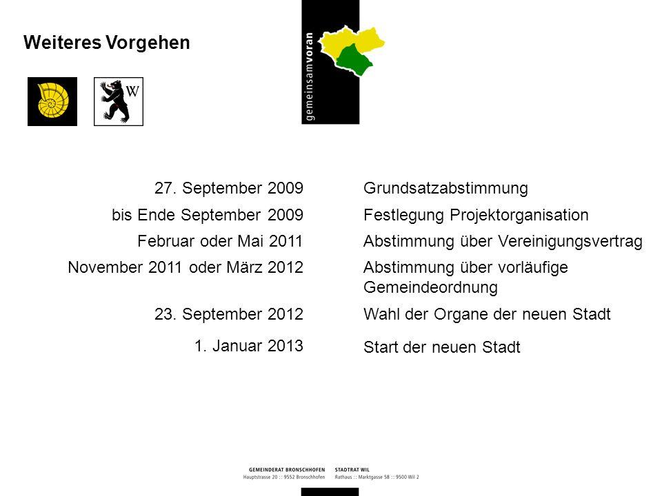 Weiteres Vorgehen 27. September 2009 bis Ende September 2009
