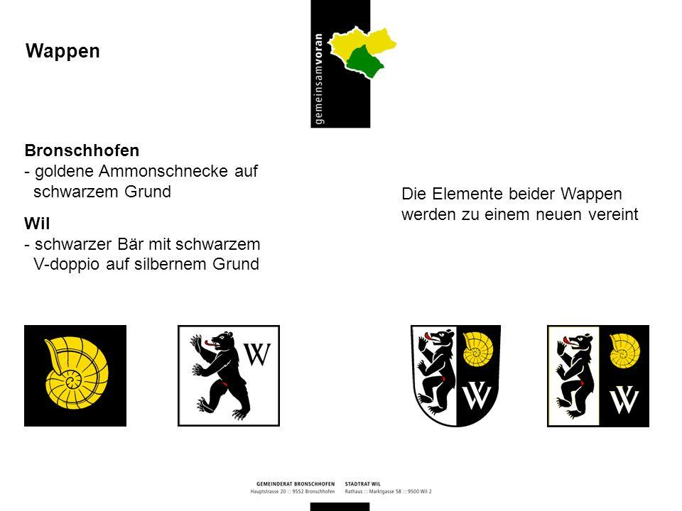 Wappen Bronschhofen goldene Ammonschnecke auf schwarzem Grund