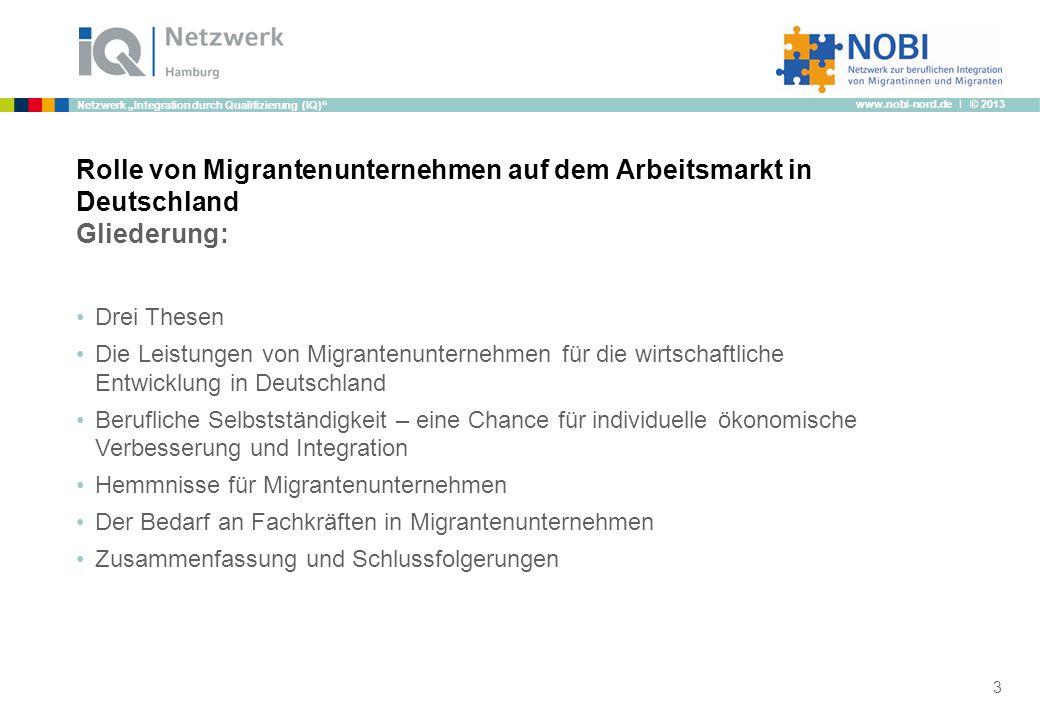 Rolle von Migrantenunternehmen auf dem Arbeitsmarkt in Deutschland Gliederung: