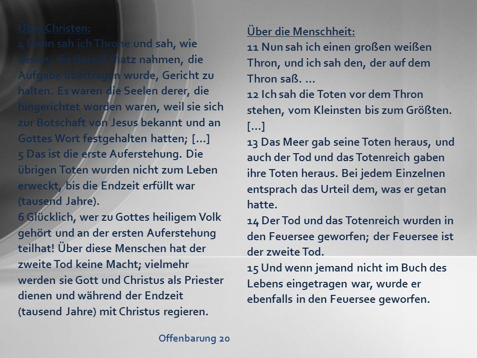Über Christen: Über die Menschheit: