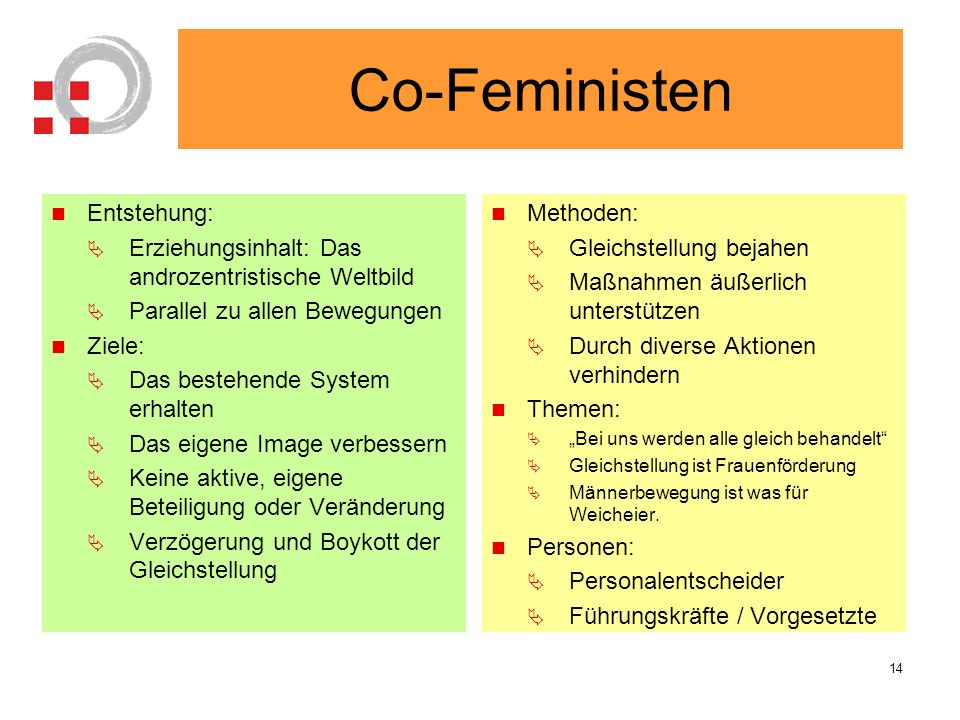 Co-Feministen Entstehung: