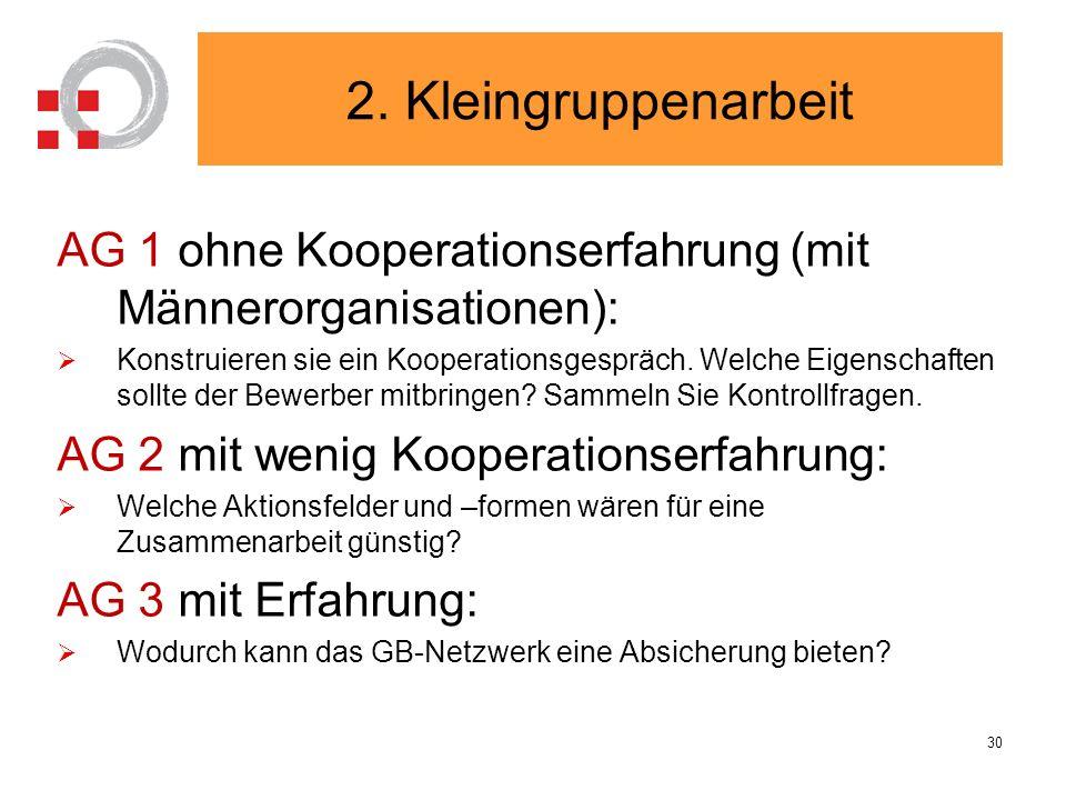 2. Kleingruppenarbeit AG 1 ohne Kooperationserfahrung (mit Männerorganisationen):