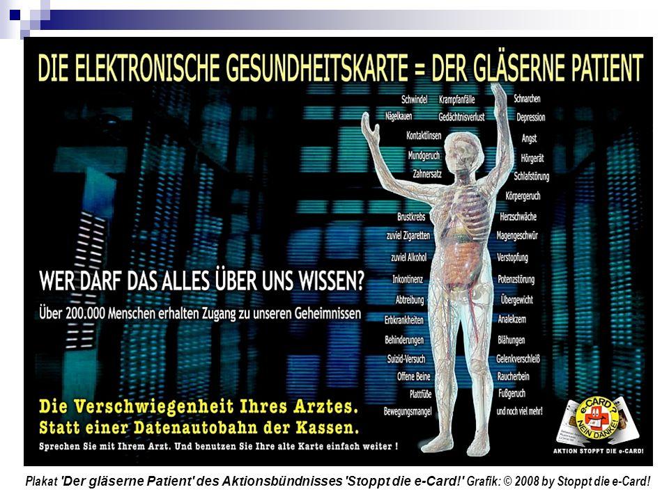 Plakat Der gläserne Patient des Aktionsbündnisses Stoppt die e-Card