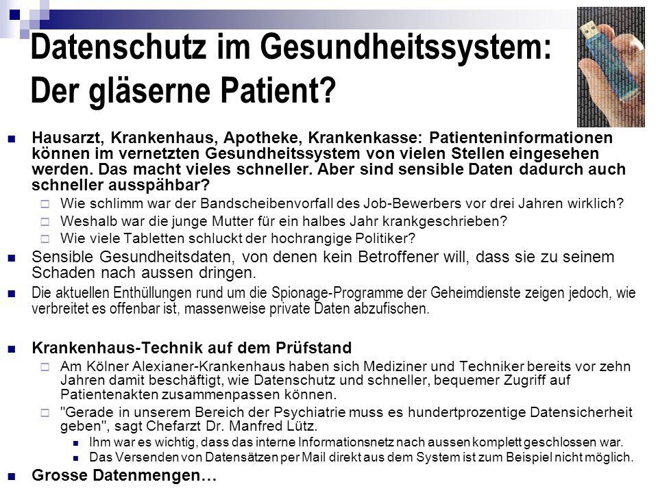 Datenschutz im Gesundheitssystem: Der gläserne Patient