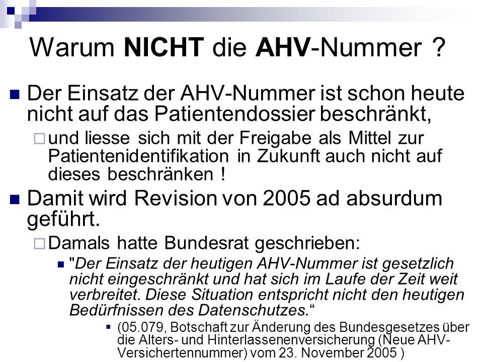 Warum NICHT die AHV-Nummer