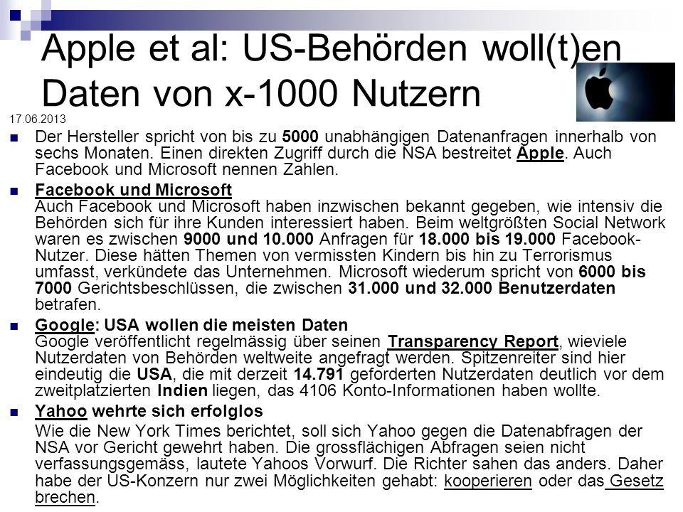 Apple et al: US-Behörden woll(t)en Daten von x-1000 Nutzern