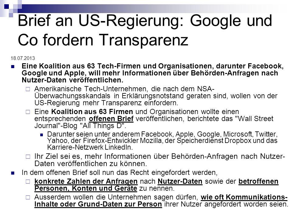 Brief an US-Regierung: Google und Co fordern Transparenz