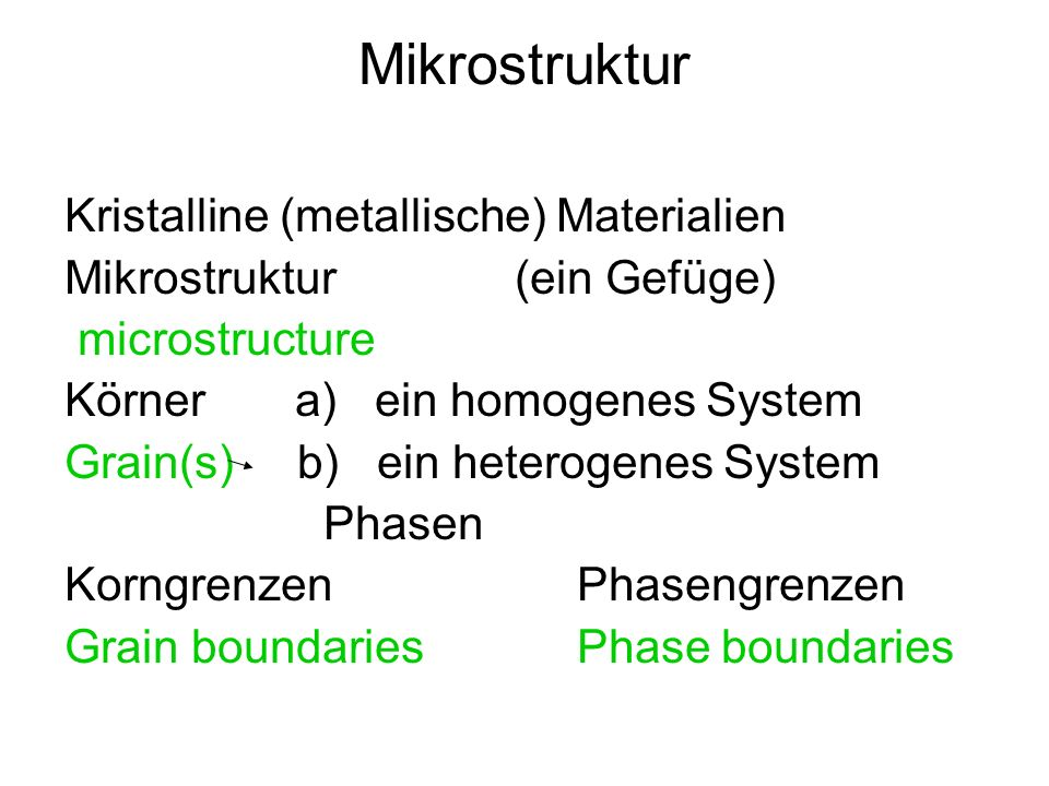 Mikrostruktur Kristalline (metallische) Materialien