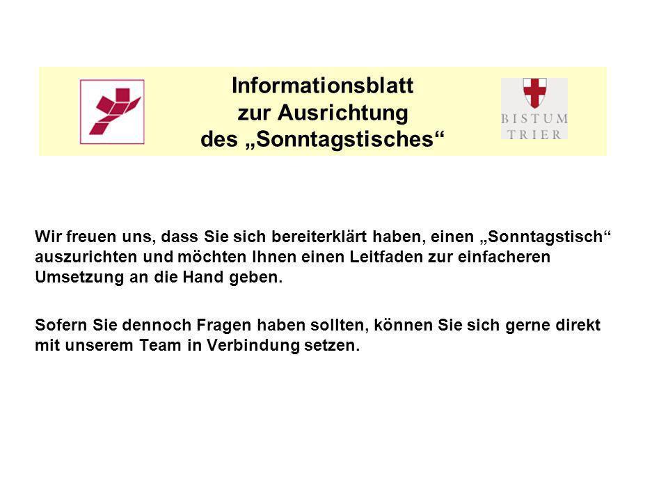 """Informationsblatt zur Ausrichtung des """"Sonntagstisches"""