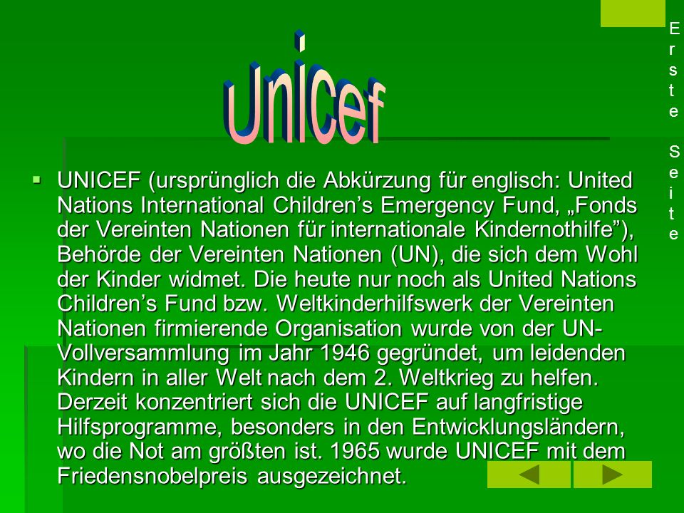 Erste Seite Unicef.