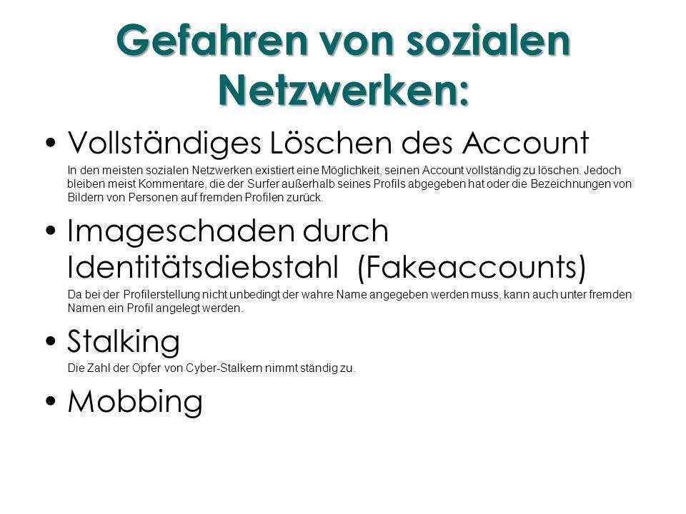 Gefahren von sozialen Netzwerken: