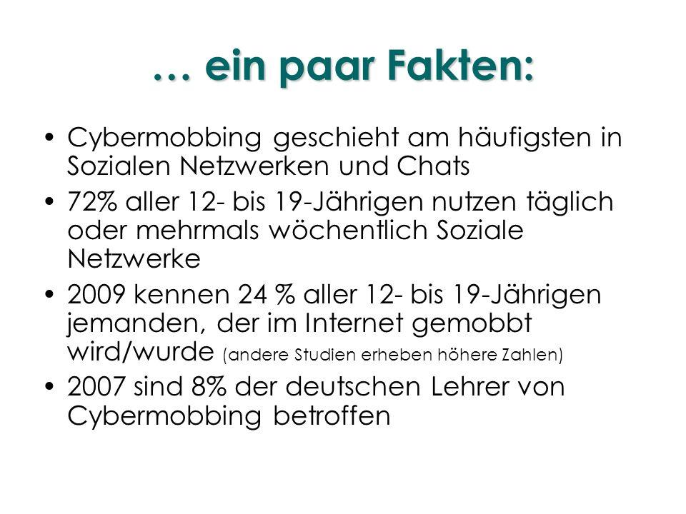 … ein paar Fakten: Cybermobbing geschieht am häufigsten in Sozialen Netzwerken und Chats.