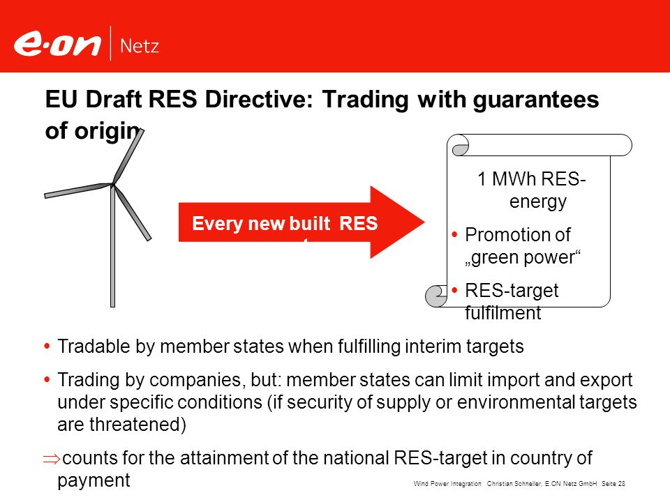 EU Draft RES Directive: Trading with guarantees of origin
