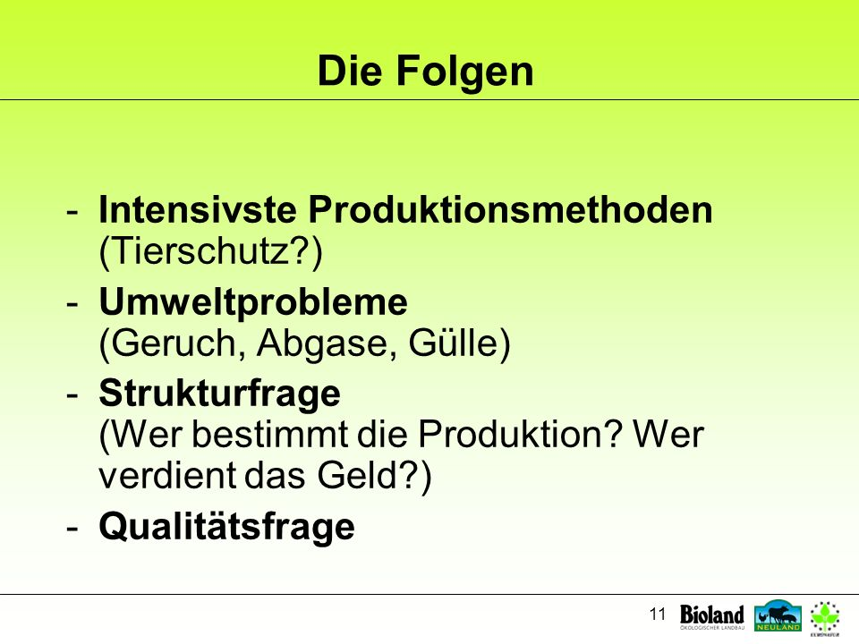 Die Folgen Intensivste Produktionsmethoden (Tierschutz )