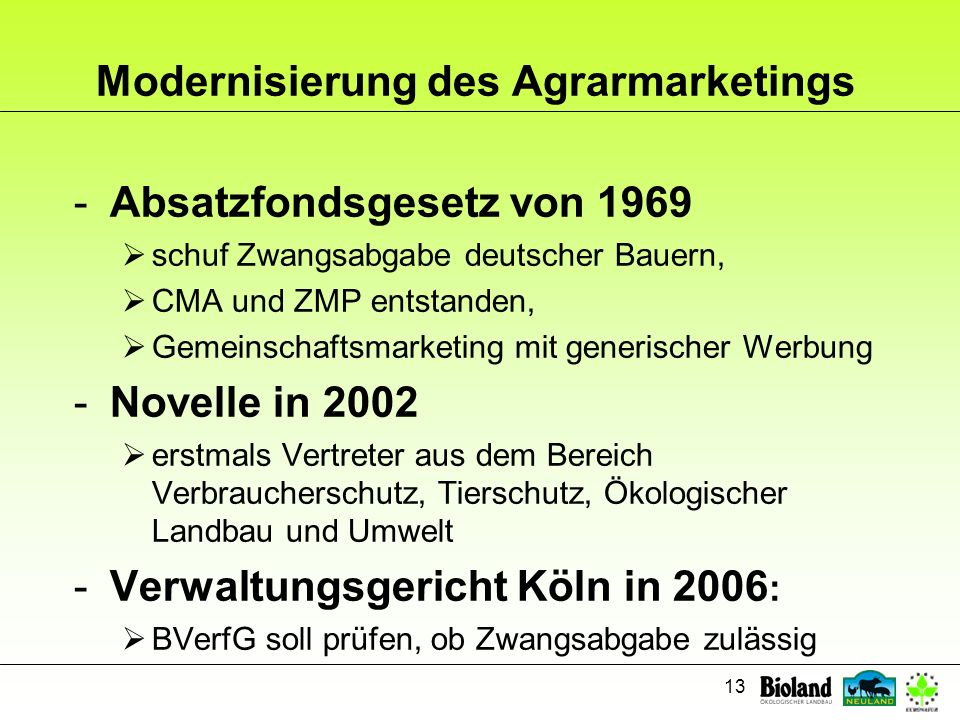 Modernisierung des Agrarmarketings