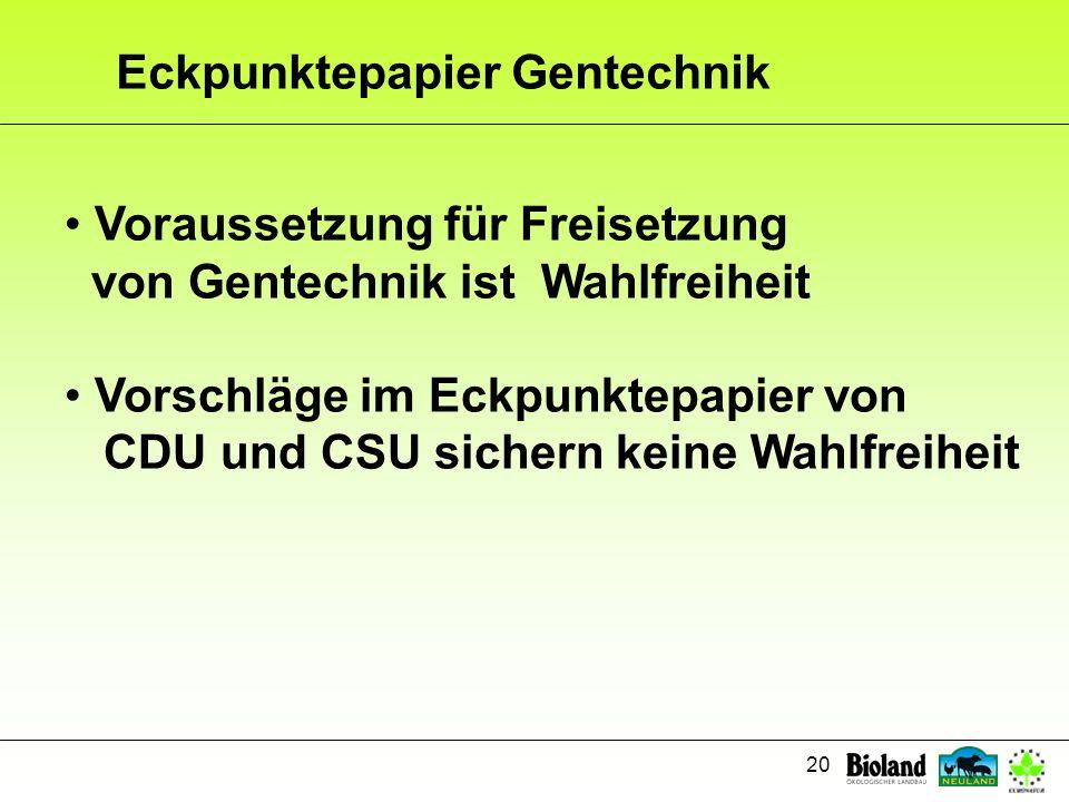 Eckpunktepapier Gentechnik