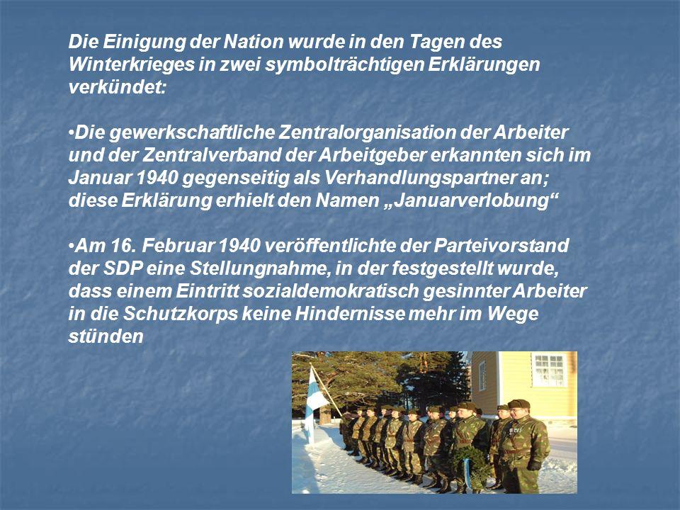 Die Einigung der Nation wurde in den Tagen des Winterkrieges in zwei symbolträchtigen Erklärungen verkündet: