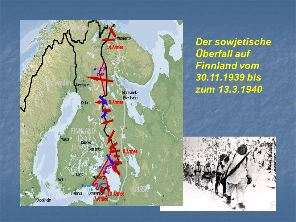 Der sowjetische Überfall auf Finnland vom 30.11.1939 bis zum 13.3.1940