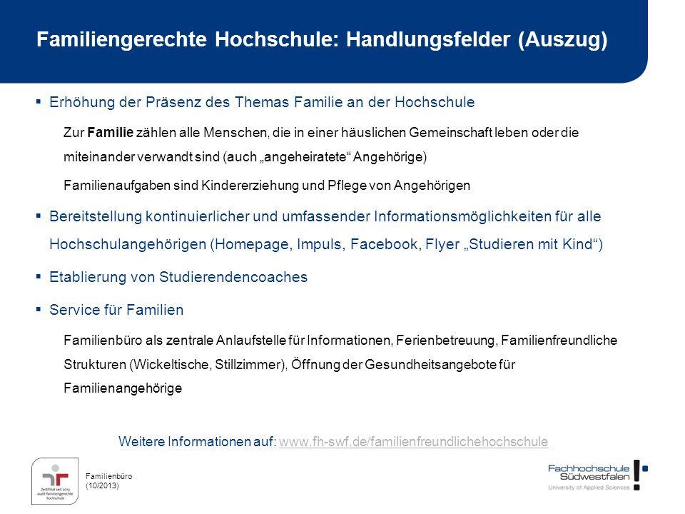 Familiengerechte Hochschule: Handlungsfelder (Auszug)