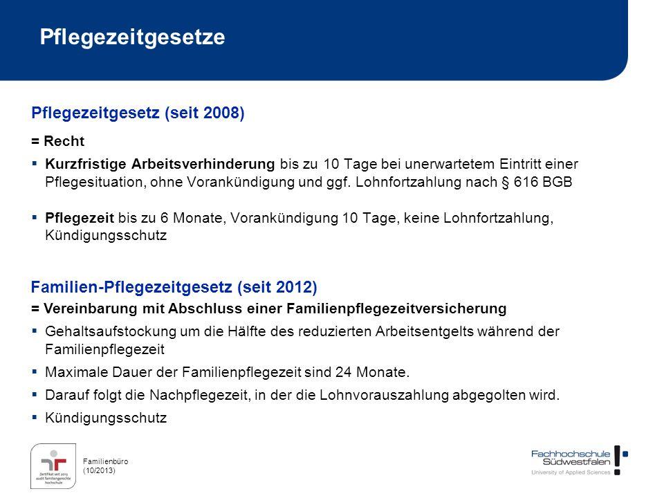 Pflegezeitgesetze Pflegezeitgesetz (seit 2008)