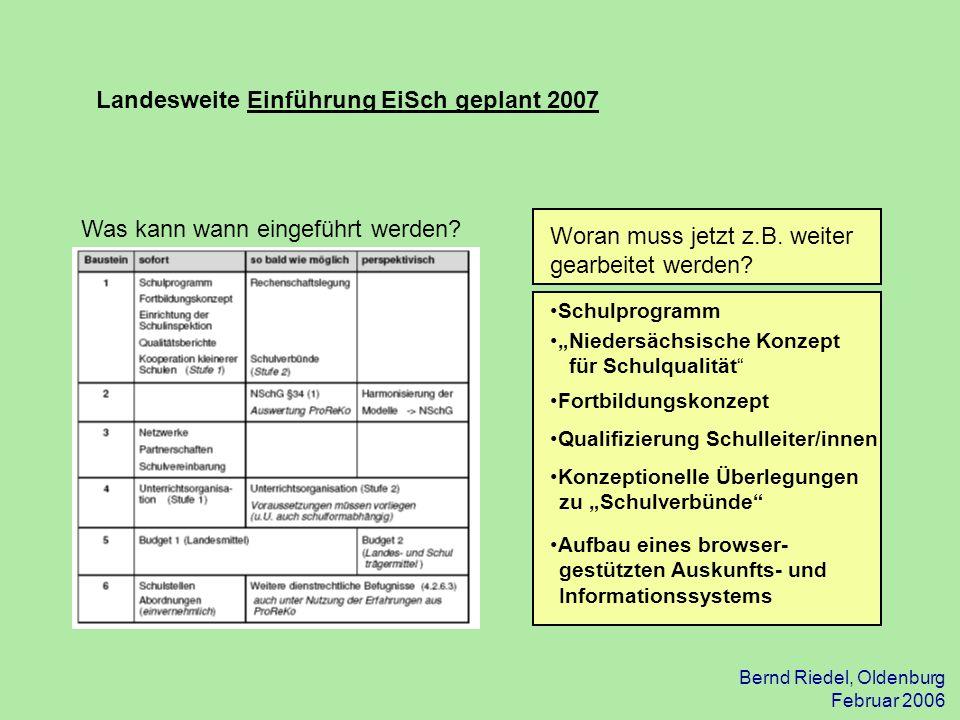 Landesweite Einführung EiSch geplant 2007