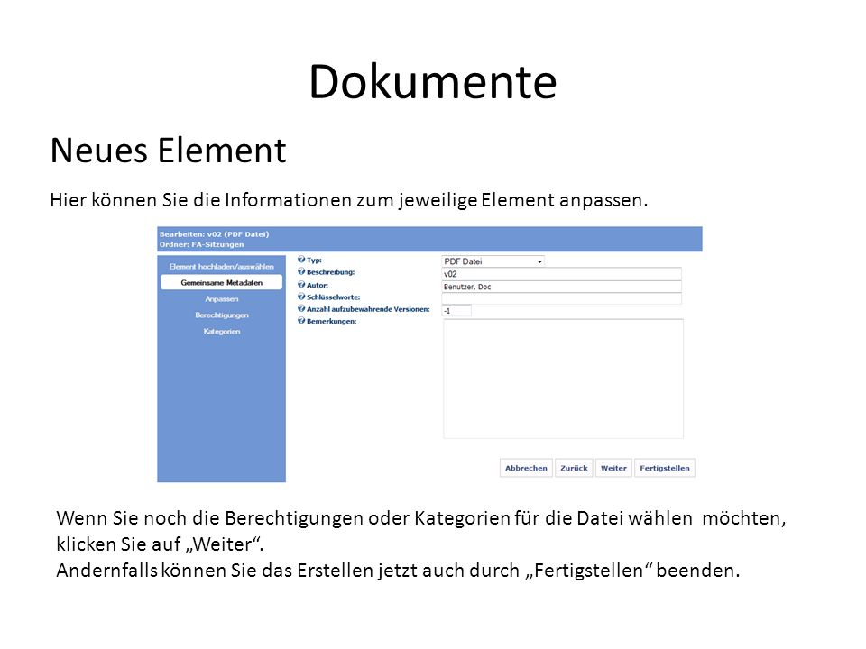 Dokumente Neues Element
