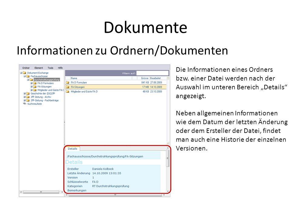 Dokumente Informationen zu Ordnern/Dokumenten