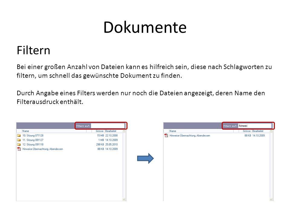Dokumente Filtern.