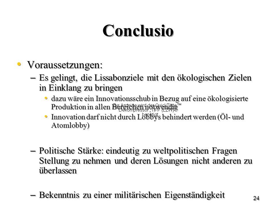 Conclusio Voraussetzungen: