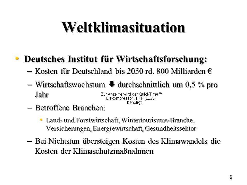 Weltklimasituation Deutsches Institut für Wirtschaftsforschung: