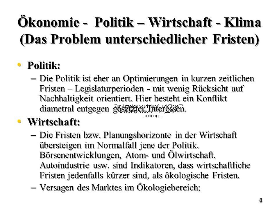 Ökonomie - Politik – Wirtschaft - Klima (Das Problem unterschiedlicher Fristen)