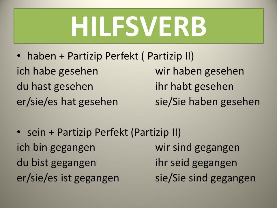 HILFSVERB haben + Partizip Perfekt ( Partizip II)