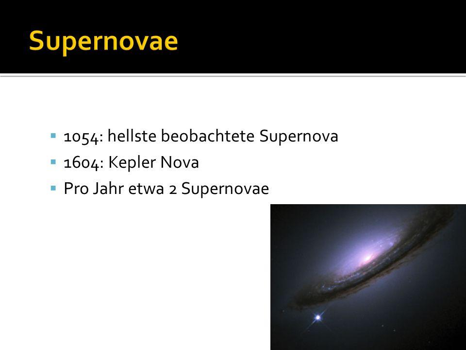 Supernovae 1054: hellste beobachtete Supernova 1604: Kepler Nova