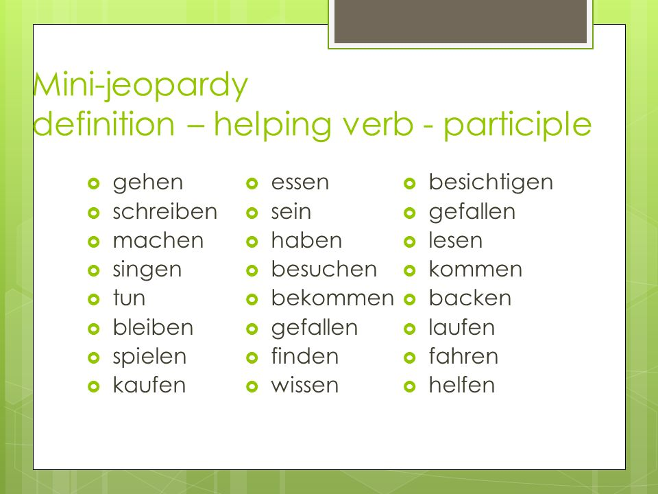 Mini-jeopardy definition – helping verb - participle