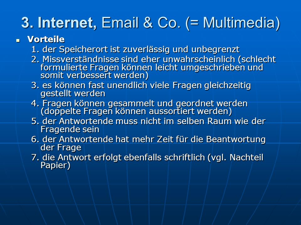 3. Internet, Email & Co. (= Multimedia)