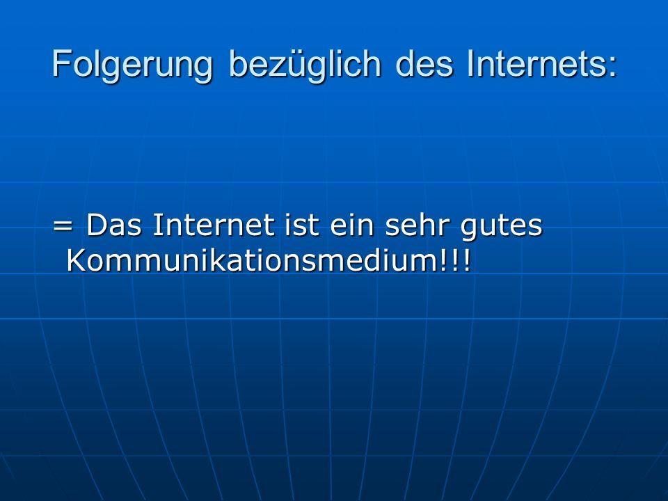 Folgerung bezüglich des Internets: