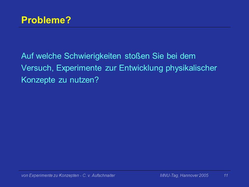 Probleme Auf welche Schwierigkeiten stoßen Sie bei dem Versuch, Experimente zur Entwicklung physikalischer Konzepte zu nutzen