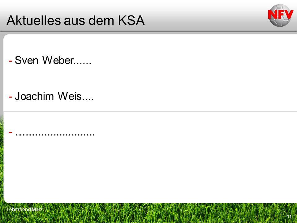 Aktuelles aus dem KSA Sven Weber...... Joachim Weis....