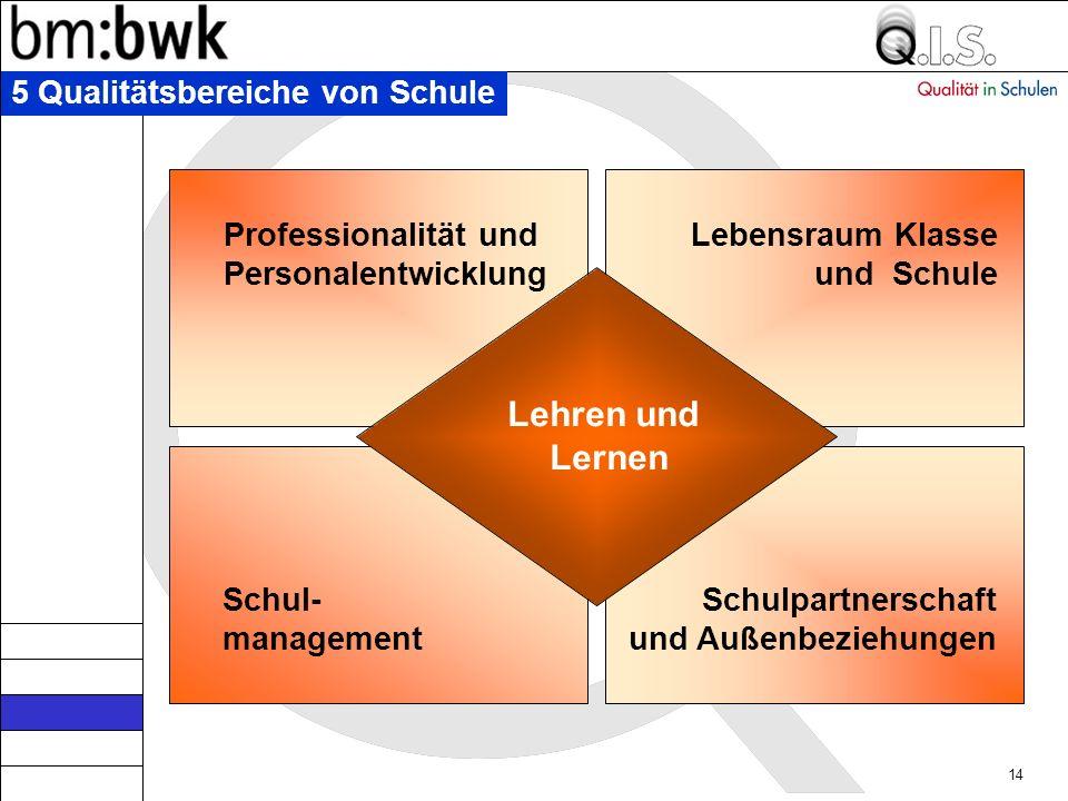 Lehren und Lernen 5 Qualitätsbereiche von Schule Professionalität und
