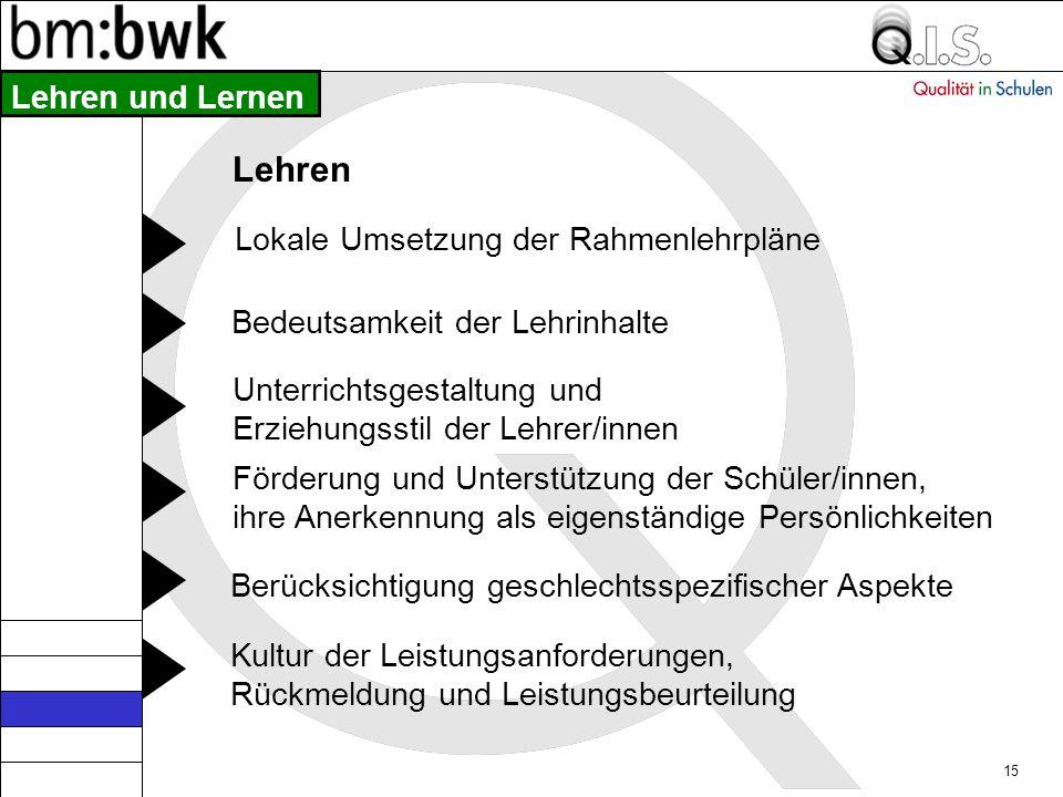 Lehren Lehren und Lernen Lokale Umsetzung der Rahmenlehrpläne