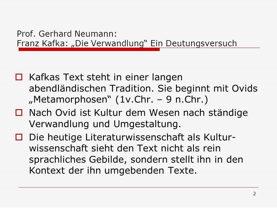 """Prof. Gerhard Neumann: Franz Kafka: """"Die Verwandlung Ein Deutungsversuch"""