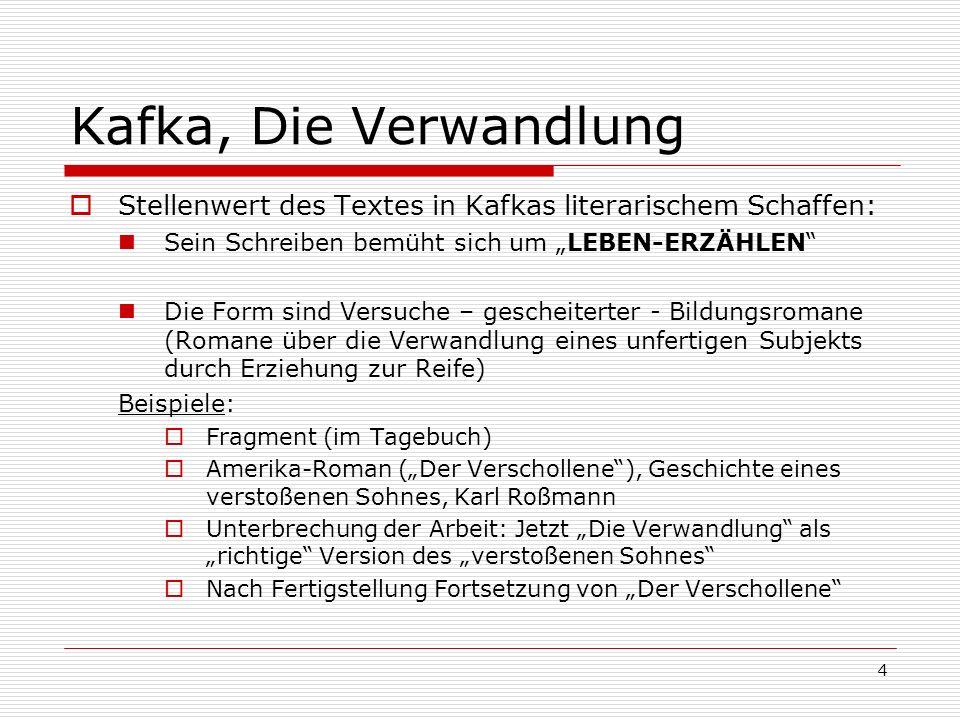 """Kafka, Die Verwandlung Stellenwert des Textes in Kafkas literarischem Schaffen: Sein Schreiben bemüht sich um """"LEBEN-ERZÄHLEN"""